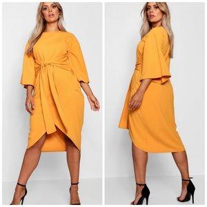 Boohoo Kimono Sleeve Wrap Over Midi Dress 12